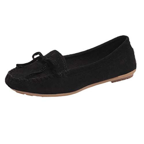 Klassische Mokassins Damen Wildleder Loafer mit Schleife, Frauen Flache Slipper Bequeme Leichte Atmungsaktiv Halbschuhe Casual Schuhe Celucke (Schwarz, 39 EU)