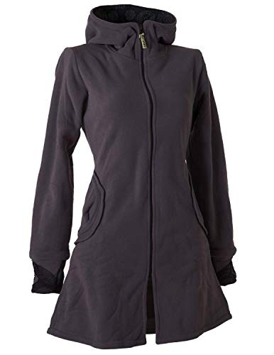 Vishes - Alternative Bekleidung - Warmer Elfen Kurzmantel mit Zipfelkapuze dunkelgrau 48