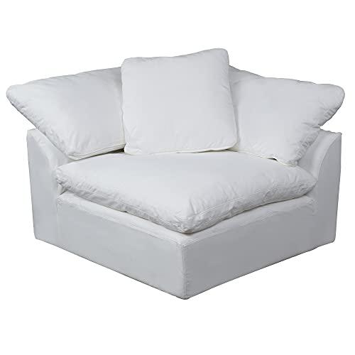 Sunset Trading Cloud Puff Modular Corner Chair, White