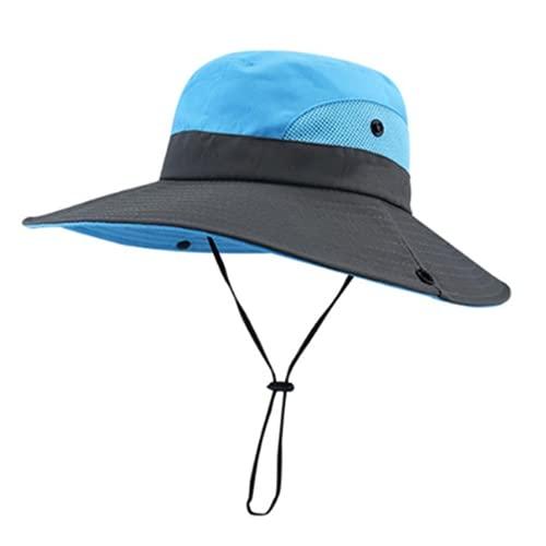 Sombrero Pescador, Plegable Sombrero de Sol, Malla con ala ancha que protege hasta el cuello y correa de barbilla, Protección UV para Exteriores para Hombre Mujere (Blue,52-54cm)