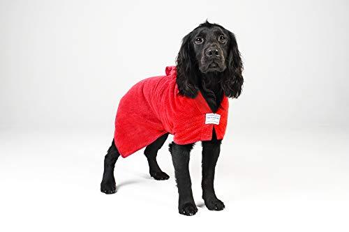 Toby and Alexander Saugfähige Hundelehre, leichte, schnell trocknende Roben sind Einfach zu benutzen, Bademantel. Geeignet für Welpen undHunde, große und kleineHandtücher. (L, Red)
