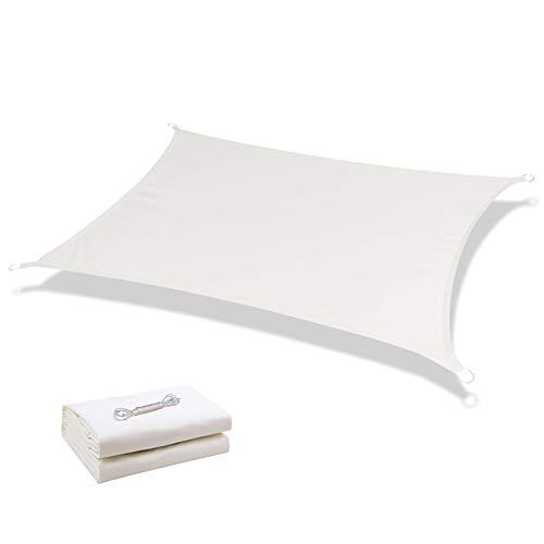 WZNING Rectángulo Parasol Toldo de Vela (Blanco), Poli Lona Impermeable con fijación, el 95% de protección Ultravioleta for Porche, Plataforma, Piscina Durable y Protector