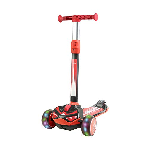 OUDEW Kick Scooter with Wide Deck,3 LED Wheels Toddler Scooter,Quick Fold with One Button,Toddler Scooter for Kids,Adjustable Height Suitable for Children Aged 2-12 Years.(RED)