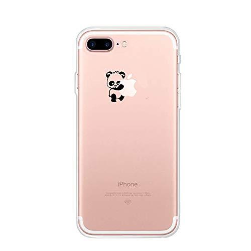 Funda para iPhone 7 Plus, iPhone 8 Plus Cover, CrazyLemon Funda de Silicona TPU Ultra Fina y Suave con Dibujos Animados para iPhone 7 Plus/iPhone 8 Plus - Panda Izquierdo