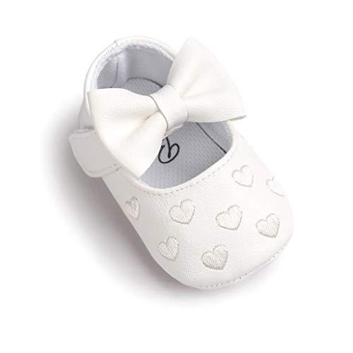 Auxma Baby Schuhe mädchen Bowknot-lederner Schuh-Turnschuh Anti-Rutsch weiches Solekleinkind für 0-18 Monate (11(0-6M), Weiß)