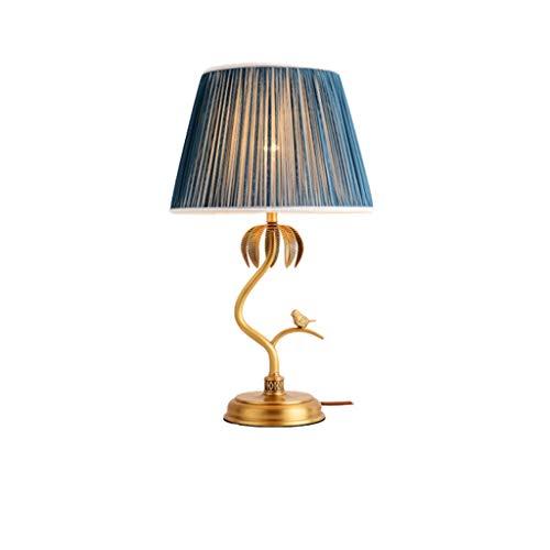 lampara de lectura Tallados a mano Pastoral americana lámpara de mesa Todos cobre retro tela con el interruptor de botón Universal Leaf lámpara de escritorio Sala de estar por Lámpara de mesa