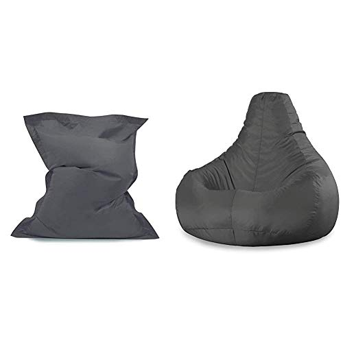 Bean Bag Bazaar Giant Bean Bag Floor Cushion-Slate Grey, Extra Large & Bag Bazaar Recliner Gaming Bean Bag - 90cm x 73cm, Water Resistant Indoor Outdoor BeanBag Chair (Slate Grey)