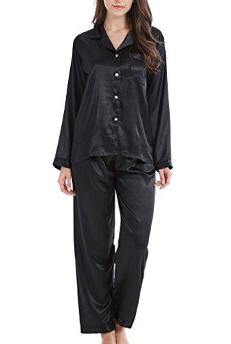Damen Schlafanzug Pyjama Satin Lang Nachtwäsche Set Klassische Loungewear (Schwarz, L)