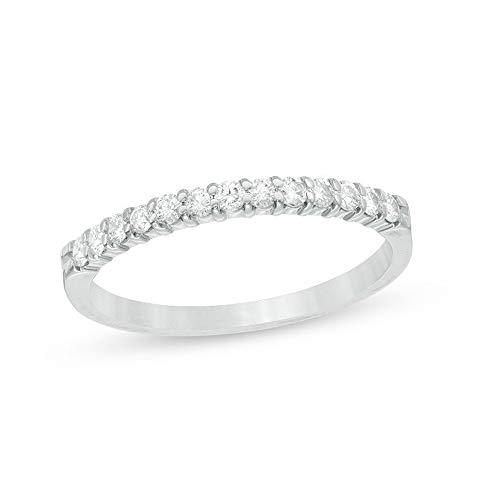 SILVERHUB Anillo de compromiso de diamante CZ de corte redondo de 1/4 quilates, para mujer, chapado en oro blanco de 14 quilates, plata 925, Metal, circonita cúbica,