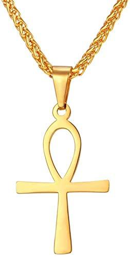 NC163 Collar con Colgante de Encanto de Cruz Religiosa Color Dorado/Plateado Colgante de la Llave de la Vida de la fe de la Paz egipcia con Cadena Collares Pendientes P330