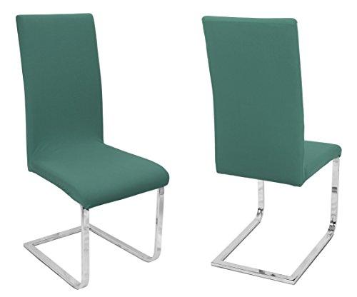 BEAUTEX 2er Set Stuhlhussen, elastische Stretch Hussen Bi-Elastic, Motiv und Farbe wählbar (Motiv Johanna, Farbe Grün)