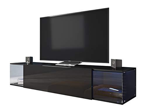 Mirjan24 TV Board Lowboard Vigo Sky, Hänge TV Lowboard mit Grifflose Öffnen, Sideboard, Unterschrank, Mediaboard, Fernsehschrank, Schrank (Schwarz/Schwarz Hochglanz, mit Blauer LED Beleuchtung)