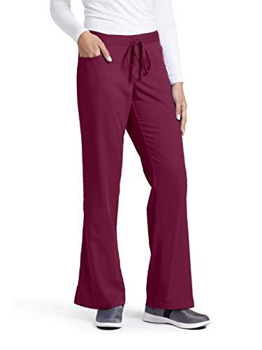 Grey's Anatomy Women's Junior-Fit Five-Pocket Drawstring Scrub Pant - Large Petite - Wine