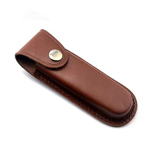 Leather Knife Sheath 5 Inch Folding Blade Pocket Knife Sheath Leather Case with Snap Closure Belt Loop Case Leather Pouch Folding Knife Sheath Holder