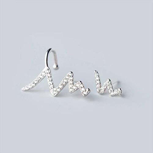 WOZUIMEI Pendientes de Botón Tremella S925 con Pendientes Asimétricos Curvados de Micro Diamantes, Clip de Hueso de Oreja Femenina, Rayo de OndaUn par