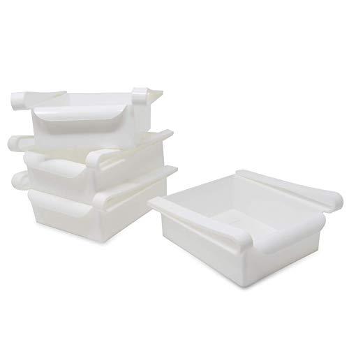 Pukkr Paquete de 4 cajones de caja de almacenamiento para refrigerador   Frigorífico Bandeja De Frutas Y Verduras   Compartimentos adicionales universales