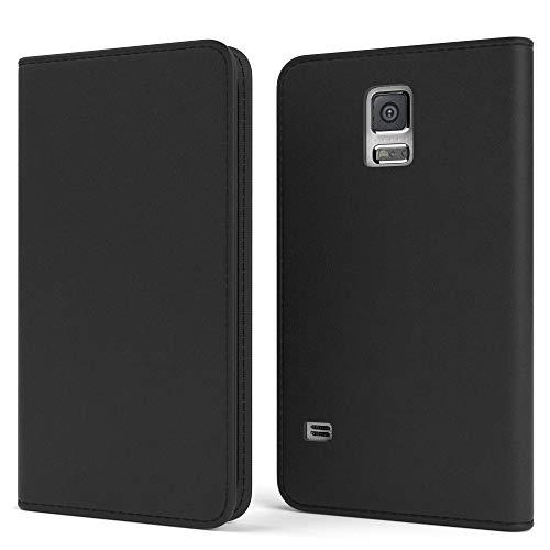 EAZY CASE Tasche für Samsung Galaxy S5/LTE+/Duos/Neo Vintage Schutzhülle mit Standfunktion Klapphülle Bookstyle, Handytasche Handyhülle Flip Cover, Magnetverschluss, Kartenfach, Kunstleder, Schwarz