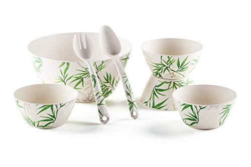 ROSMARINO - Juego de 7 cuencos de bambú para ensalada - Práctico juego con cuenco grande para servir, 4 cuencos pequeños, tenedor y cuchara, fabricado con fibras naturales de bambú
