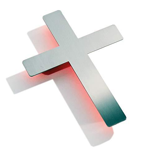 Kreuz, Wandkreuz Edelstahl poliert - Orangefarbener Hintergrund - puristisch, geradlinig, aussergewöhnlich - Made in Germany