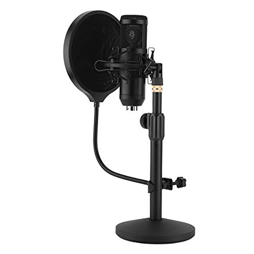 Condensador cardioide, micrófono de grabación USB Plug and Play Micrófono de PC Juego de micrófono de cabeza redonda para chat en línea para escritorio para computadora portátil MAC Windows