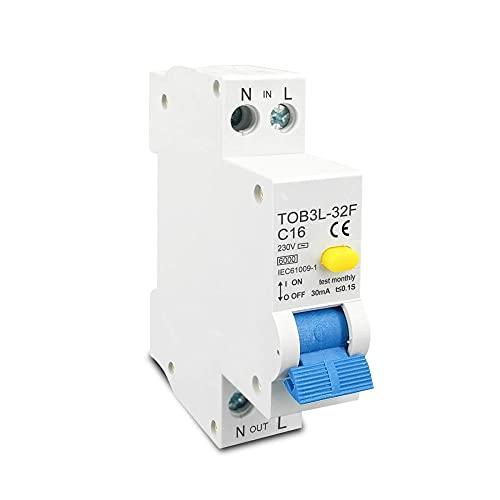 18MM 230V 50 / 60Hz RCBO 1P + N 6KA Disyuntor automático diferencial de corriente residual con protección contra fugas de sobrecorriente-25A