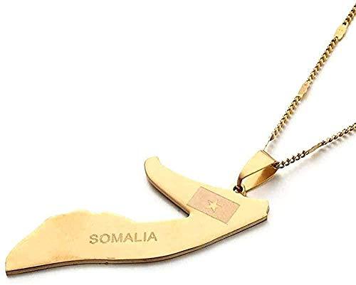 huangxuanchen co.,ltd Collar Bandera de Mapa de Somalia Collar de Acero Inoxidable Collar de Color Plateado Patrón de Estrella Mapa Encanto Joyería