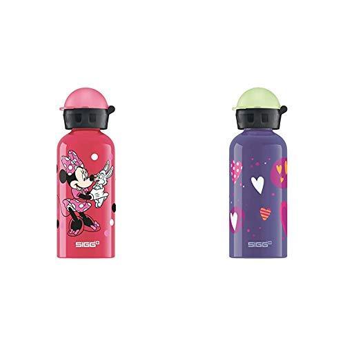 Sigg Minnie Mouse, Borraccia d'Acqua Bambina, Rosa, 0.4 L & Glow Heartballoons, Borraccia d'Acqua Unisex Bambini, Violetto, 0.4 L