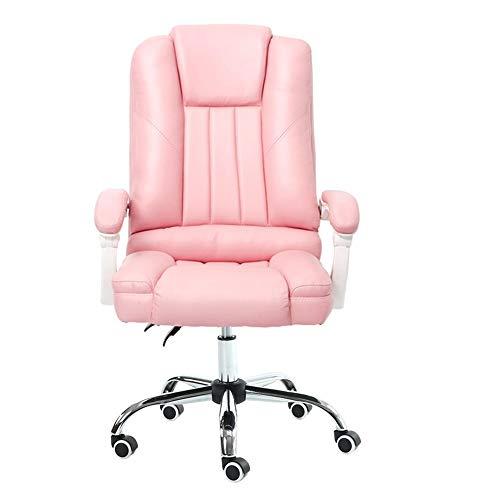 WYYY silla de Oficina Girar Silla Grande Tamaño Masaje Alto Espalda Ergonómico Carreras Oficina con Reposacabezas Lumbar Apoyo Computadora Durable Fuerte (Color : Pink)