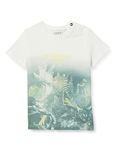 IKKS tee-Shirt floqué Jungle Camiseta, Blanco Hueso, 3 Mes para Bebés