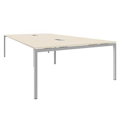 Weber Büroleben GmbH NOVA Konferenztisch 320x164cm Ahorn mit ELEKTRIFIZIERUNG Besprechungstisch Tisch, Gestellfarbe:Silber