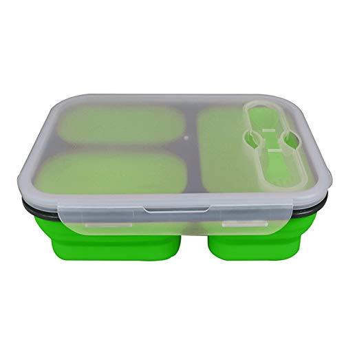 Scatole Bento, Leakproof Lunch Box, Silicone Pieghevole Food Storage Containers 3 Vano Ermetica, Piegato Bento Box con La Coltelleria, Microwaveable Piccolo Freezer Sicuro for I Bambini Adulti