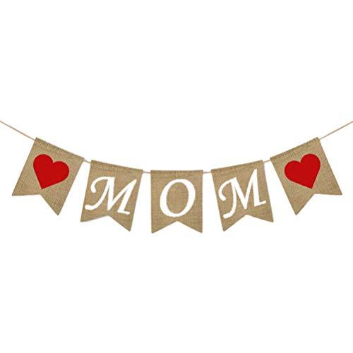 Cartel del día de la madre, guirnalda de fiesta, accesorio, decoración de mamá, banderines de arpillera, banderines, bandera de hija e hijo