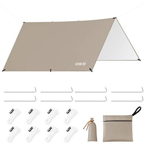 OUTDOORMASTER防水タープ テント キャンプ タープ 日除け 遮熱 遮光 軽量 UPF50+ 紫外線99.9%カット 3000mm耐水圧 306D高密度生地 8つペグ付 8つテントロープ付 防水収納ケース付 UVカット 運動会 ピクニック アウト