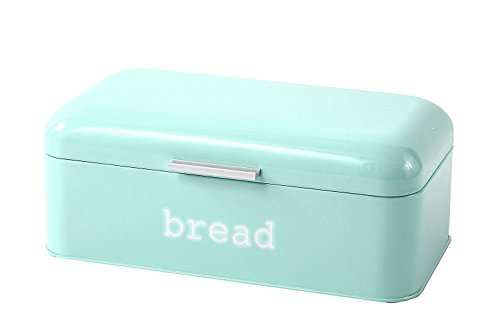 Bread Box for Kitchen Counter - Stainless Steel Large Bread Bin Storage Container Holder for Loaves, Pastries & More - Retro Vintage Design, Turquoise, 16.75 x 9 x 6.5 inches