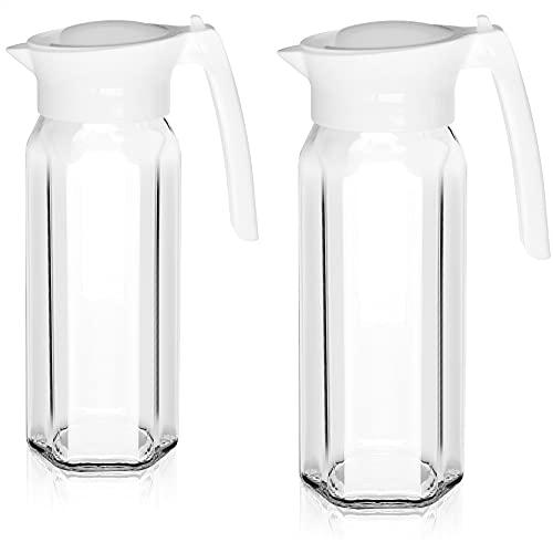 COM-FOUR® 2x Caraffa di vetro con coperchio - Caraffa per acqua con manico - Caraffa di vetro da 1,5 litri per acqua, latte, succhi e limonata (02 pezzi - bianco)