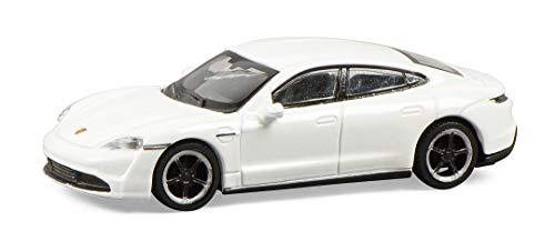 Schuco 452655800 Porsche Taycan, Turbo S, Carrera, modellino Auto in Scala 1:87, Bianco Metallizzato