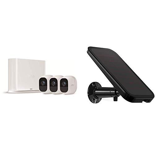 Arlo Pro2 Überwachungskamera & Alarmanlage, 1080p HD, 3er Set, Smart Home, kabellos, Innen/Außen, Nachtsicht, 130 Grad Blickwinkel, WLAN, 2-Wege Audio & Arlo Sonnenkollektor/Solarladegerät, schwarz