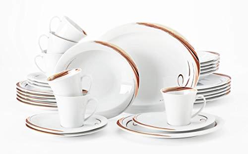 Seltmann Weiden Kombiservice 30-teilig weiß | Set für bis zu 6 Personen | Serie Top Life | beinhaltet je 6 Speiseteller, Suppenteller, Frühstücksteller, Kaffeeober-und Untertassen, Hartporzellan