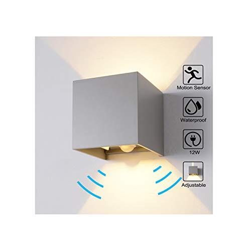 Wandleuchte Bewegungsmelder Aussen/Bewegungsmelder Innen LED Wandlampe, 12W Warmes Licht Wasserdicht Verstellbare Aussenlampe, Wandleuchte Sensor für Garten/Flur/Weg Veranda Hell-Eckig (Grau)