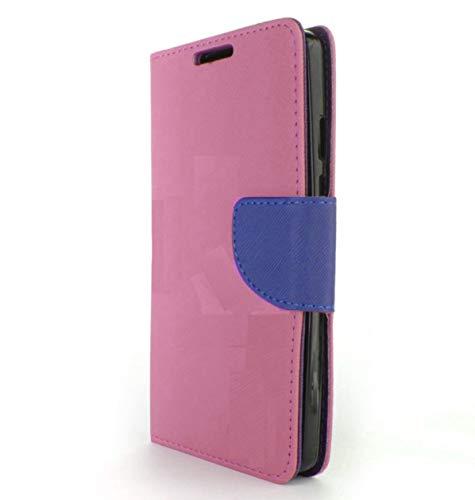 (Universal) kompatibel mit NUU MOBILE A1+ / 3G / 4G Schutzhülle Cover Hülle Flip Cover Stand mit Innenhaken 360° drehbar Magnetischer Schutz Geldbörse Kunstleder (Rosa Flip Blau/Int. Blau)