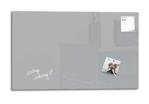 Glas Expert   Smart Glass Board ®   Glas Whiteboard   78 x 48 cm   Grau   Magnettafel   Memoboard   Magnetwand   Pinnwand Tafel   + 2 Magnete + 1 Marker