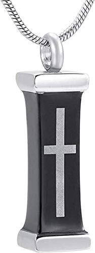 Collares para Mujer Cadena De Cenicero Caja De Regalo Funeraria Cruz Latina En Urna con Tapa De Plata Colgante Recuerdo De Ceniza Collar De Cremación De Acero Inoxidable para Hombres/Hombres Collar