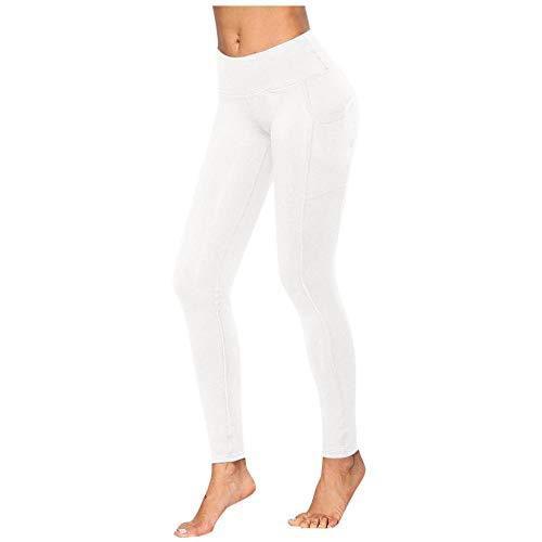 Yogabroek extra zachte legging met zakken voor dames,Yoga dames joggingbroek, pocket fitness legging-White_S_United_States,Blouse met V-hals