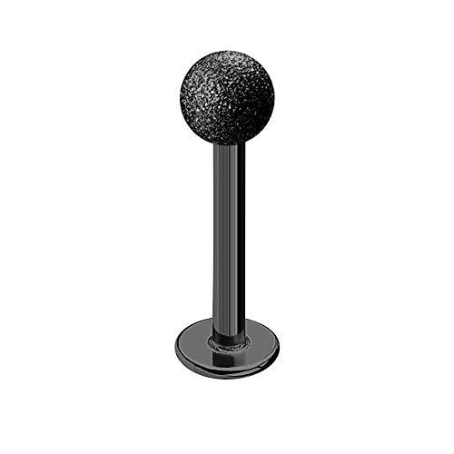 Treuheld | LABRET Piercing SCHWARZ - MATT - Diamant-Optik - 9 Größen & Längen - sandgestrahlte Kugel zum Schrauben - Lippen-Piercing, Intim-Piercing, Zungen-Piercing [09.] - 1.6 x 12 mm (Kugel: 4mm)