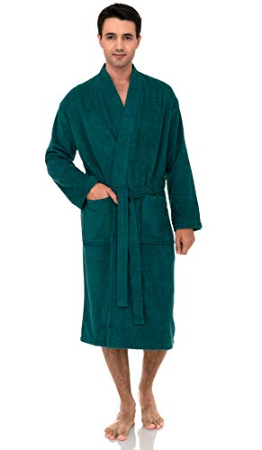 TowelSelections Men's Robe, Turkish Cotton Terry Kimono Bathrobe X-Large/XX-Large Teal Green