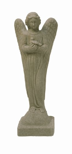 """EMSCO Group Morning Angel Statue – Natural Sandstone Appearance – Made of Resin – Lightweight – 29"""" Height"""