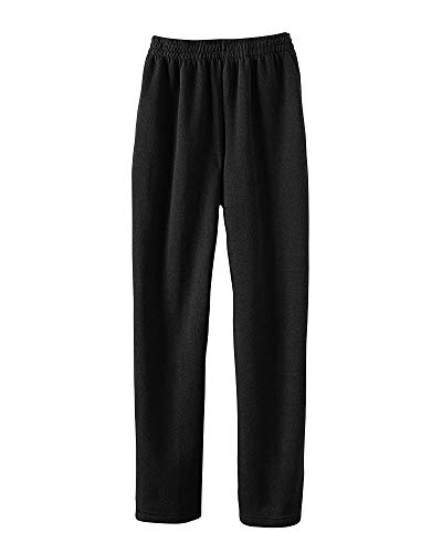 National Women's Fleece Elastic Waist Pants, Cotton-Polyester Fabric, Multi-Stitched for Durability, Elastic-Waist Super Soft Pants, Black, 2X