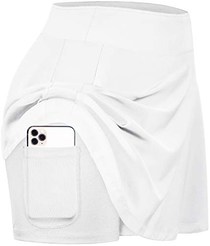 Blevonh Skorts for Women,Wide Waist Pleated Tennis Skirt with Shorts Ladies Cool Soft Plus Size Active Wear Skirt Girls Fast Dry Outdoor Sports Skort Womens Golf Apparel White XL