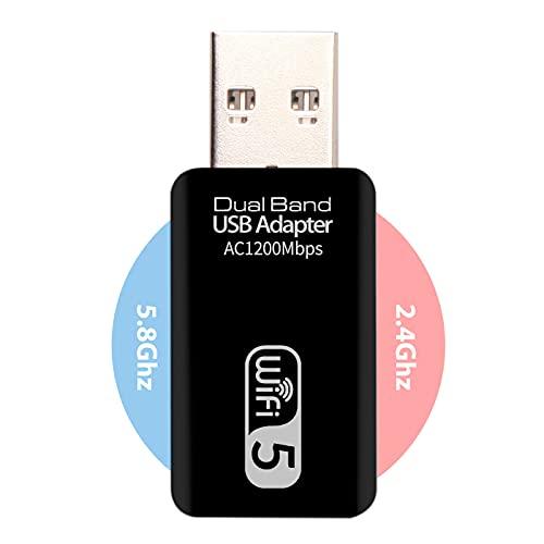 Adaptador USB WiFi Doble Banda - Tarjeta de Red WiFi Doble Banda 2.4Ghz/5.8Ghz 1200Mbps Dongle Receptor WiFi para PC Pincho Antena INIVECH