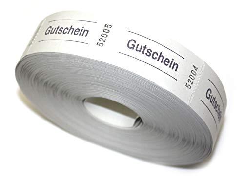 Bonrolle GUTSCHEIN weiß - 1000 perforierte Abrisse